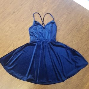 Blue velvet mini sleeveless skater dress XS